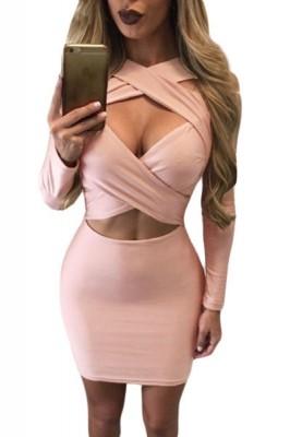 Pink Crisscross Wrap Long Sleeve Club Dress Black