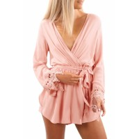 Pink Cross V Neck Lace Wrist Cuff Romper Black