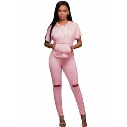 Pink Scoop Back Hooded 2pcs Pant Set White
