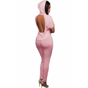 Pink Scoop Back Hooded 2pcs Pant Set White
