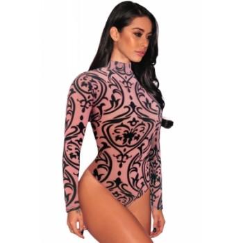 Pink Sheer Mesh Print Long Sleeves Bodysuit black