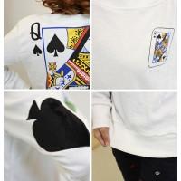 Poker Pattern Print Fleece Fleece Color Matching Sweatshirt For Women white