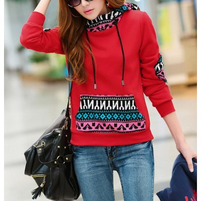 Print Splicing Pocket Design Long Sleeve Casual Women's Hoodie red gray