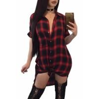 Red Black Plaid Half Sleeve Midi Shirt Dress