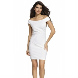 Red Cross Neck Ribbed Bardot Dress White