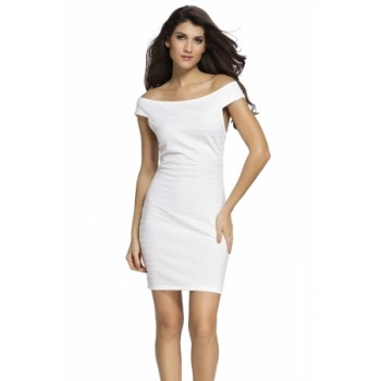 Red Cross Neck Ribbed Bardot Dress White