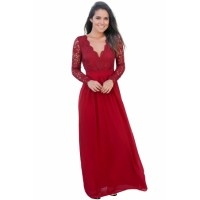 Red Open Back Long Sleeve Crochet Maxi Party Dress Black White Pink