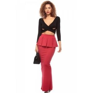 Red Peplum Maxi Skirt