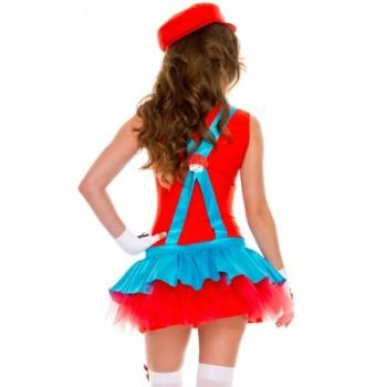 Red Super Mario Plumber Dress Costume
