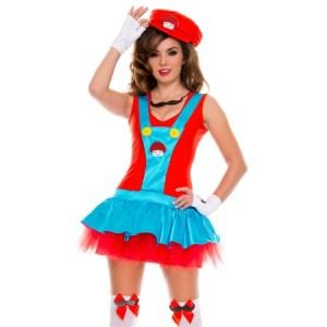 Red Super Mario Plumber Dress Costume