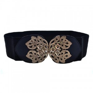 Retro Carve Patterns Elastic All-Match Leaf Spring Belt For Women black red white