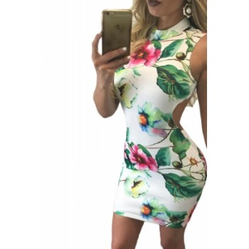Retro Floral Print Open Back Sleeveless Mini Dress