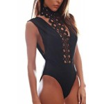 Revenge Embroidered High Neck Leotard Bodysuit black