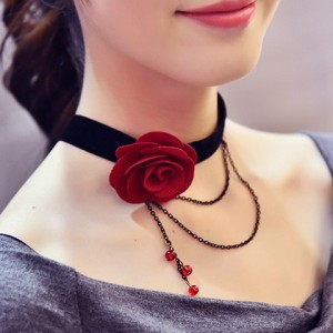 Rose Layered Chain Tassel Choker Necklace