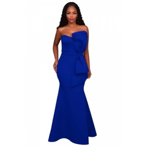 Rosy Oversized Bow Applique Evening Party Gown Blue