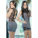 Sensual High Neck Lace Hollow-out Club Dress