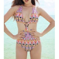 Sexy Halter Neck Lace-Up Printed One-Piece Swimwear For Women