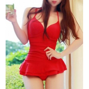 Sexy Halter Neck One-Piece Push-Up Solid Color Swimwear For Women red