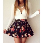 Sexy Plunging Neck Long Sleeve Floral Print Dress For Women white