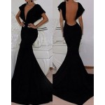 Sexy Plunging Neck Short Sleeve Backless Solid Color Dress For Women black