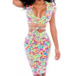 Sexy Plunging Neck Short Sleeve Women's Crop Top + Printed High Stretchy Skirt Twinset For Women