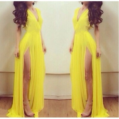Sexy Plunging Neck Sleeveless Solid Color High-Furcal Chiffon Dress For Women yellow