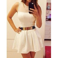 Sexy Round Neck Sleeveless Solid Color Spliced See-Through Dress For Women white