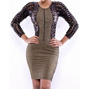 Sexy Scoop Neck Long Sleeve Hollow Out Zippered Dress For Women