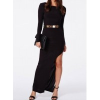 Sexy Scoop Neck Long Sleeve Solid Color High-Furcal Dress For Women black