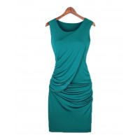 Sexy Scoop Neck Sleeveless Solid Color Draped Club Dress For Women blue black khaki