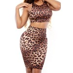 Sexy Scoop Neck Tank Top + High-Waisted Leopard Print Skirt Twinset For Women