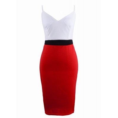 Sexy Spaghetti Strap Sleeveless Low Cut Color Block Dress For Women red green