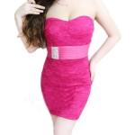 Sexy Strapless Sleeveless Bodycon Rhinestoned Dress For Women plum