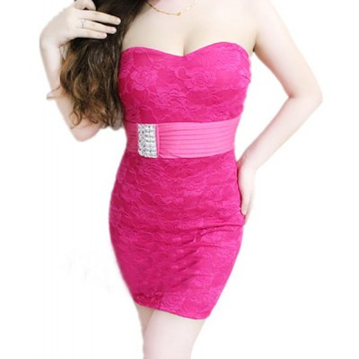 Sexy Strapless Sleeveless Bodycon Rhinestoned Dress For Women plum