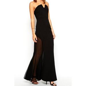 Sexy Strapless Sleeveless Spliced See-Through Slimming Dress For Women black