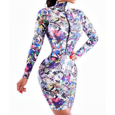 Sexy Turtle Neck Long Sleeve Printed Zippered Dress For Women