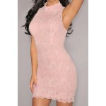 Sexy Turtle Neck Sleeveless Bodycon Hollow Out Dress For Women pink