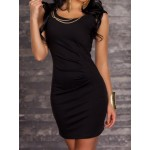 Sexy Women's Scoop Neck Sleeveless Chain Embellished Dress black red