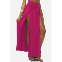 Sexy Women's Solid Color Side Slit Skirt plum white black