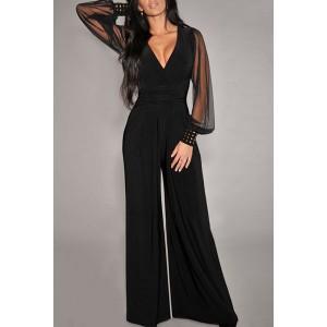 Sexy Women's V-Neck Long Sleeve Wide-Leg Jumpsuit black