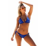 Silver Hollowed Pattern 2pcs Blue Halter Bikini Swimsuit