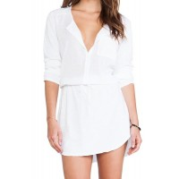 Simple Scoop Neck Long Sleeve Solid Color Button Design Dress For Women white