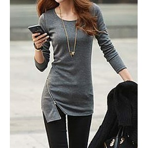 Simple Style Solid Color Zipper Embellished Cotton Slimming Long Sleeve T-shirt For Women gray black green
