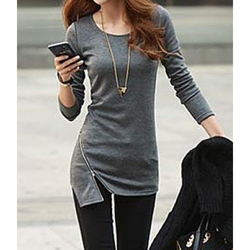 Simple Style Solid Color Zipper Embellished Cotton Slimming Long ...