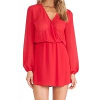 Simple V-Neck Long Sleeve Elastic Waist Solid Color Dress For Women