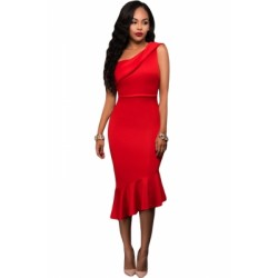 Single Shoulder Ruffle Party Dress Black Red White