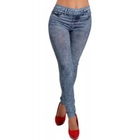 Slimming Blue Denim Like Faux Jean Pants Leggings For Women