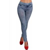 Slimming Blue Denim Like Faux Jean Pants Leggings For Women