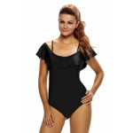 Solid Black Frill One-piece Swimwear