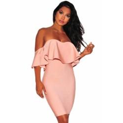 Solid Black Ruffle Off Shoulder Bandage Dress Pink